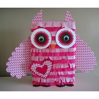 Cereal Box owl pinata!  Super easy and the possibilities are endless for color options.  This was created for a Valentine Day birthday party!  You could also make a smaller one for a Valentine card box.