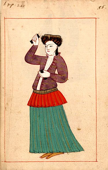 Dancer  with castanets çalpara. The 'Rålamb Costume Book' is a small volume containing 121 miniatures in Indian ink with gouache and some gilding, displaying Turkish officials, occupations and folk types. They were acquired in Constantinople in 1657-58 by Claes Rålamb who led a Swedish embassy to the Sublime Porte, and arrived in the Swedish Royal Library / Manuscript Department in 1886.
