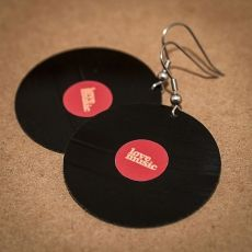 Vinylové náušnice - červená