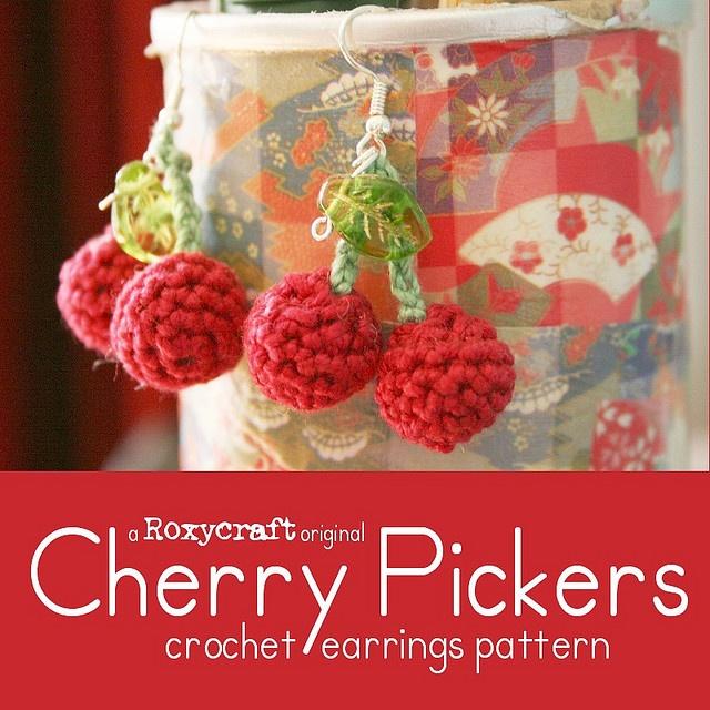 cherry earrings pattern by Tamie Snow