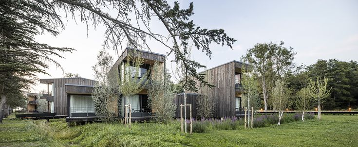 Architecture, Cyril Durand Behar Architectes, Pernod Ricard University, facade, CDB, bois, wood, hebergement, nature, bungalow, hotellerie,  Photo Adria Goula