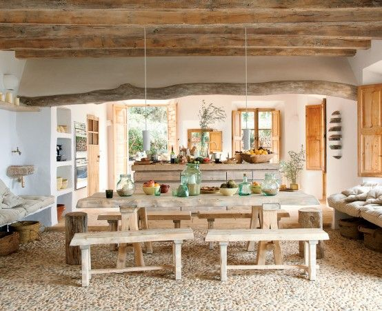 Wooden Beams. Corner sink. Rock flooring. Open storage. White. Clean. Natural. I love it all!