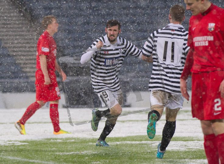 Queen's Park's John Carter celebrates scoring a goal during the SPFL League Two game between Queen's Park and Montrose.