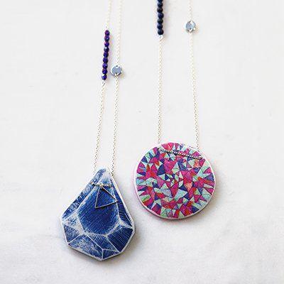 NEXT ROMANCE JEWELS unique art necklaces - cyanotype rock & peace mandala in pink & teal xo Vicki Leigh Melbourne Australia x