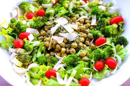 Hemsley & Hemsley chickpea and broccoli salad with rocket pesto