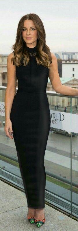 Kate Beckinsale wearing a long tight black sheath dress