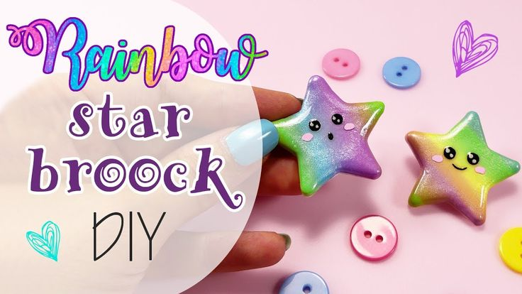 DIY Rainbow Fimo Stars - Stelle arcobaleno Spille in Fimo
