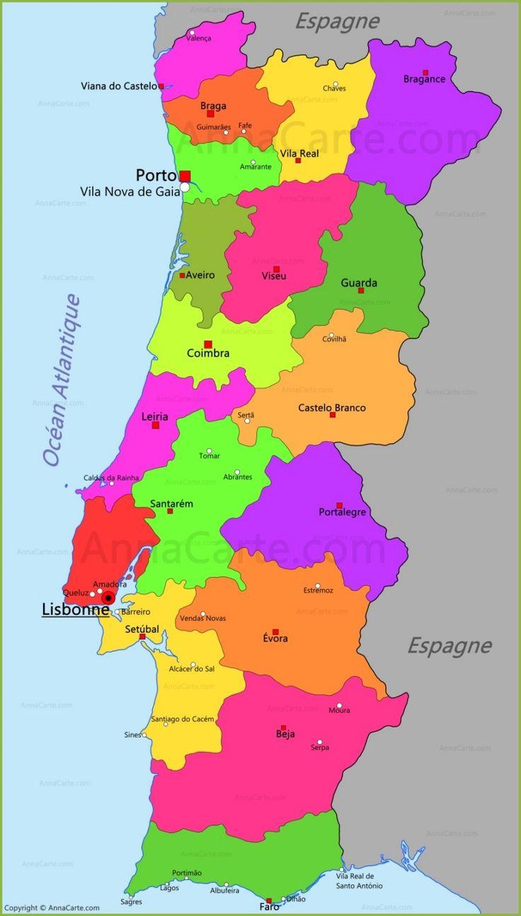 Portugal Carte Grandes Villes