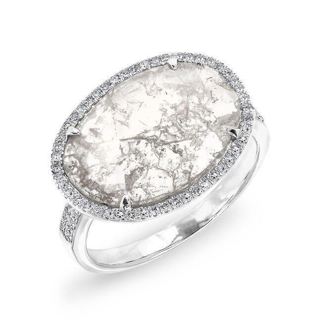 Diamoire Jewels Swarovski Zirconia Pear Cut And Round Cut Ring in 10Kt White Gold - UK U - US 10 1/4 - EU 62 3/4 ouFtA