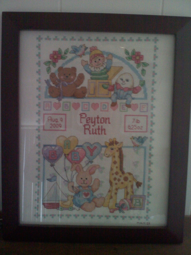 Birth Announcement embroidered by Jill of All Trades: Births Announcements, Birth Announcements, Announcements Embroidered