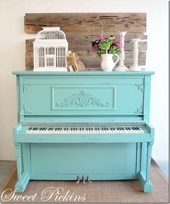 Love This.  Just bought a piano to Refinish.  Wish me Luck!: Idea, Sweet, The Piano, Blue, Paintings Colors,  Upright Piano, Paintings Piano, Old Piano, House