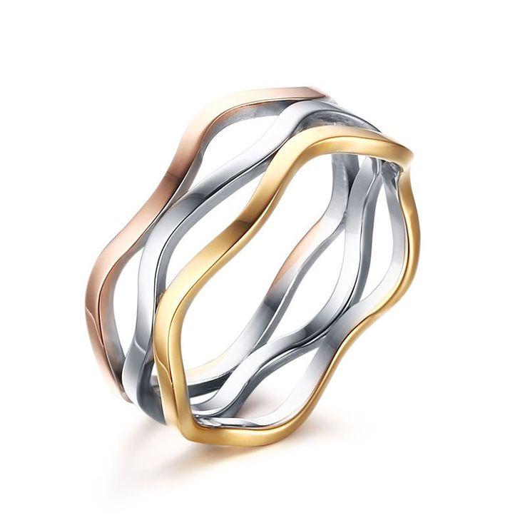 Neue Ankunft Klassische Partei Russische Verriegelung Ringe Silber/Rose/Gelb Farbe 3 teile/satz Titan Stahl Frau Ehering