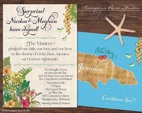 Destination Wedding Map Announcement Custom by CompassRoseStudio
