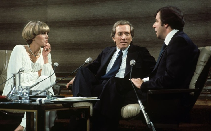 1977:  Joanna Lumley and Andy Williams appear on 'The Russell Harty Show'