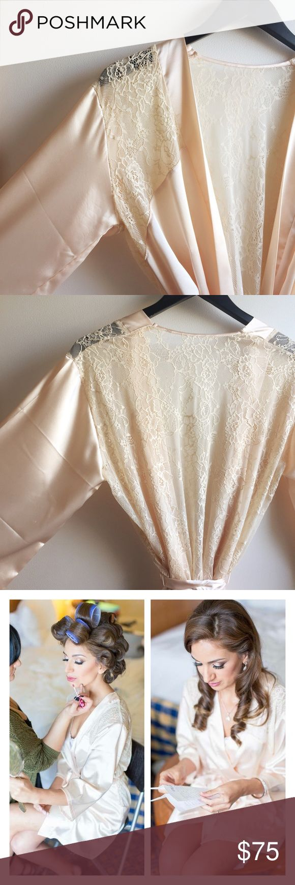 Anthropologie bridal robe Beautiful bridal robe worn once for an hour. Beautiful lace detail and stunning color! White beige color. Bought on BHLDN anthropologie's wedding line. Anthropologie Intimates & Sleepwear Robes