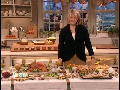 Martha Stewart photographs her dog Pawpaw for a greeting card, gives turkey tips, and sets a Thanksgiving buffet table.