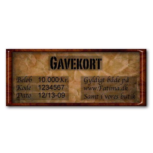 Gavekort- Fatima.dk - Alternativ Mode med Kant!  Et hvilket somhelst beløb er velkomment
