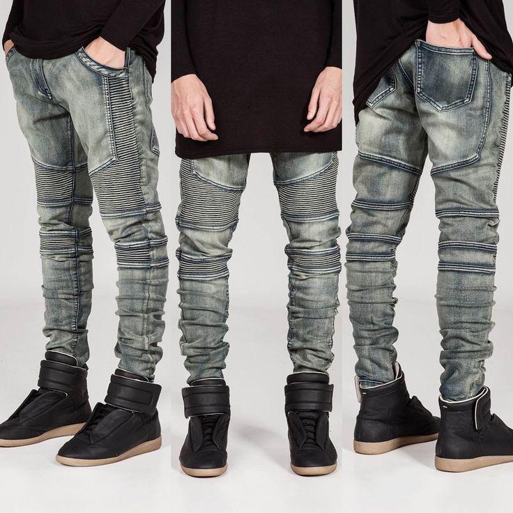 Fashion Men's Skinny Moto Biker Boot Cut Jeans For Men Jeans Slim Fit Elastic Denim Pants Trousers