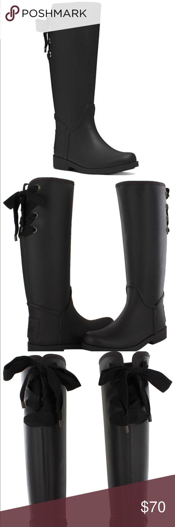 Coach black matte rubber rain boots new Authentic, brand new. Lace up back. Black matte with soft fleece lining the inside. Super cute! Coach Shoes Winter & Rain Boots