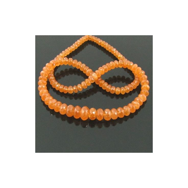 Spessartite Garnet 4.5-8.5mm Faceted Rondelle Shape Bead Strands - GemsBiz
