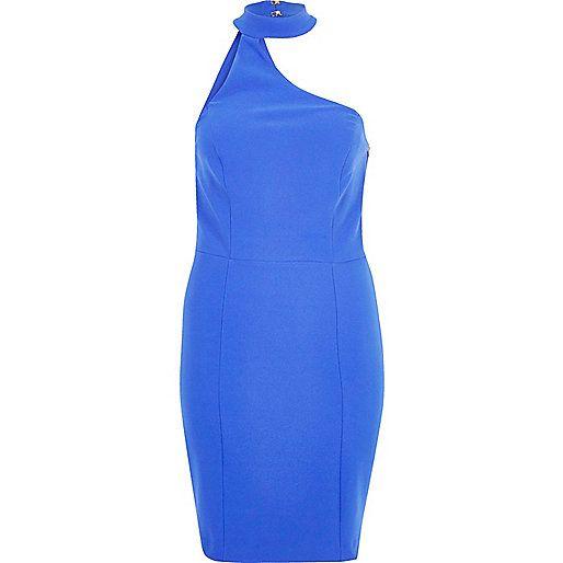 Blue asymmetric choker neck dress