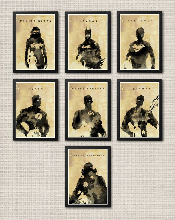 Hey, I found this really awesome Etsy listing at https://www.etsy.com/listing/167838256/justice-league-ink-effect-poster-set