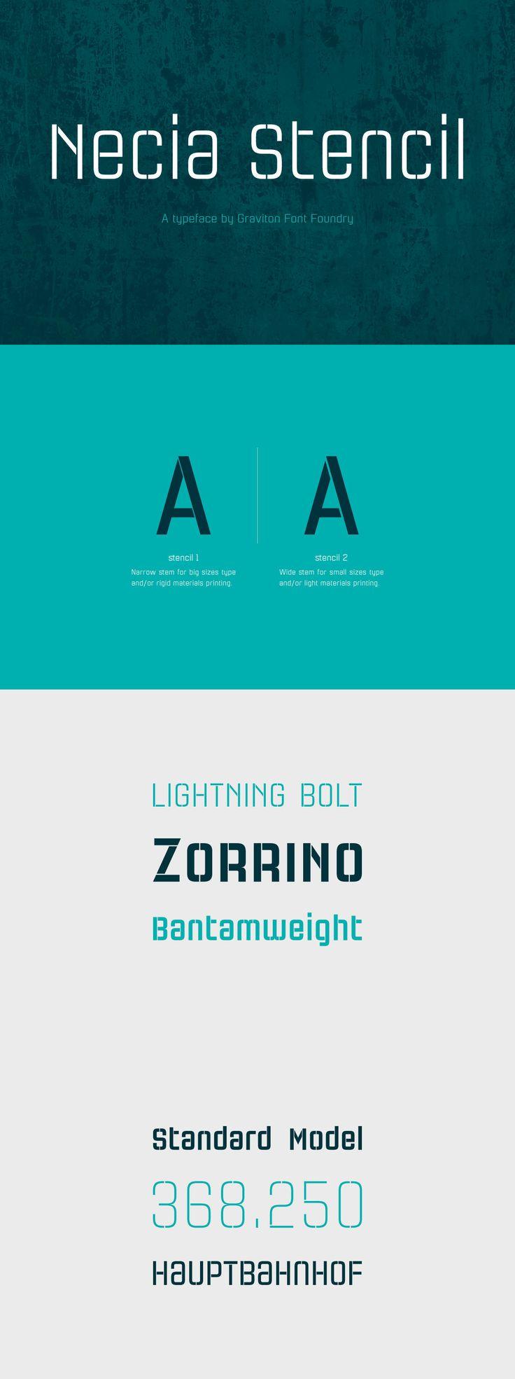 Necia Stencil - Necia Stencil font family is the stencil version of Necia font family, it has been designed for Graviton Font Foundry by Pablo Balcells in 2014.