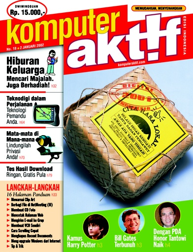 Bèsèk, or bamboo box, an Indonesian traditional food-container, on the cover of a licensed magazine from UK's edition of VNU Publications with local contents.  ••••  Ed.18 Digital Indonesia 2001 Citra Rasa Lokal