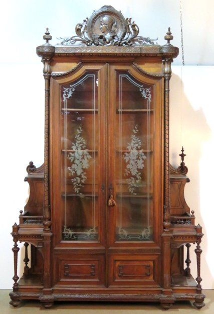 Th c continental carved walnut cabinet antique