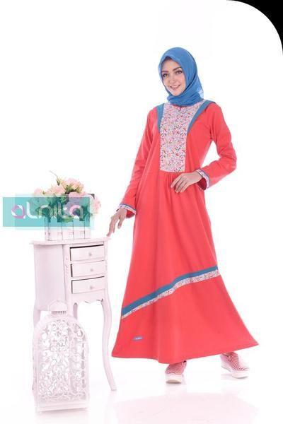 Baju Longdress Gamis ALNITA AG-20 Merah Cabe