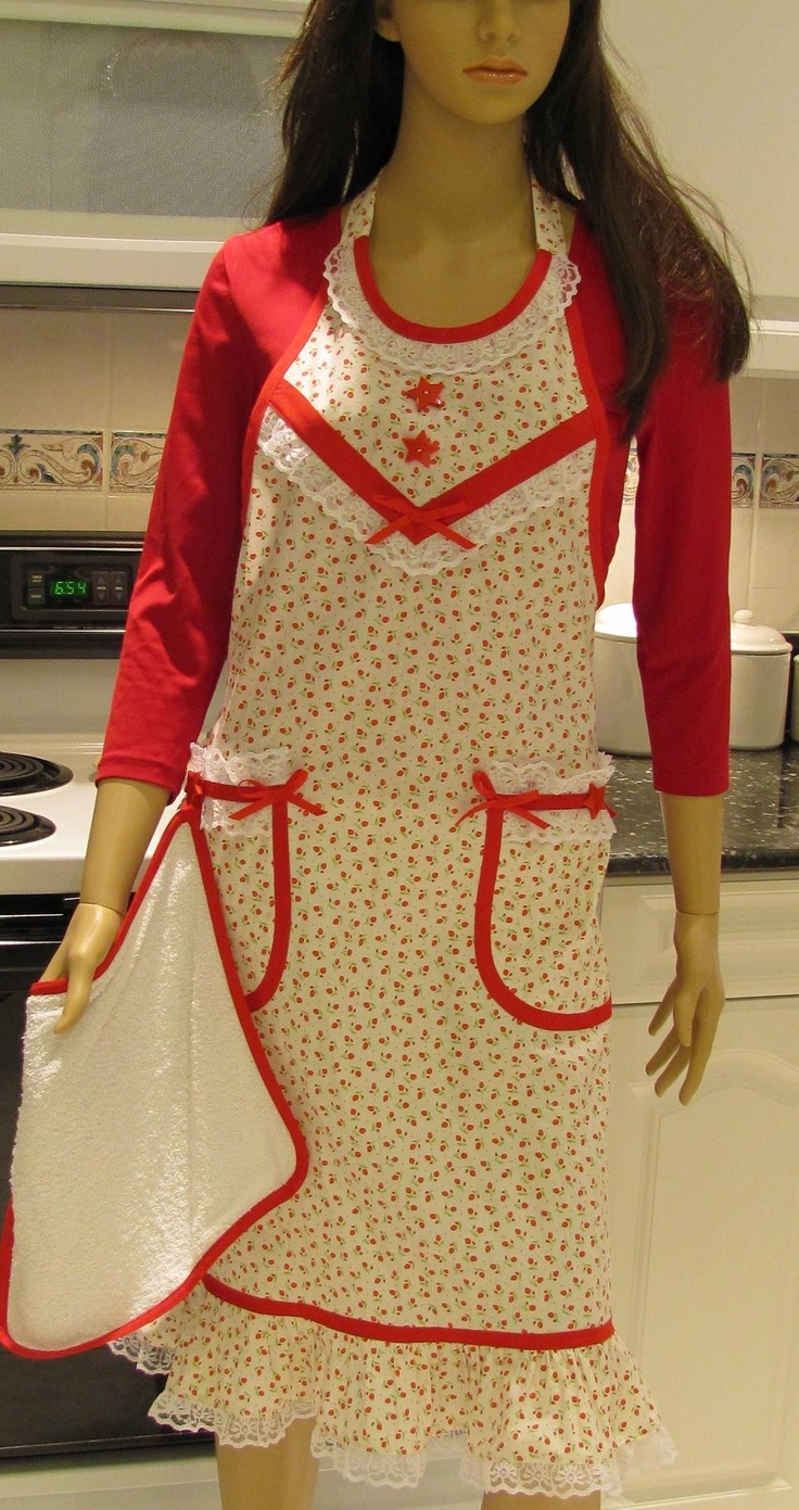 White apron lace trim - Full Apron Extra Long Vintage Style White Red Print With Red Accents And Lace Trim