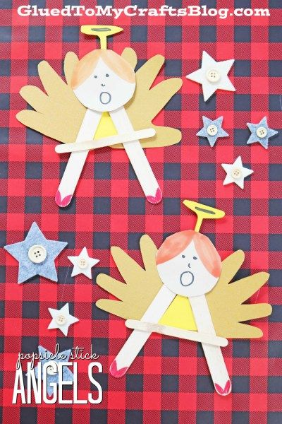 """""""A"""" is for Angel - Popsicle Stick Christmas Kid Craft Idea"""