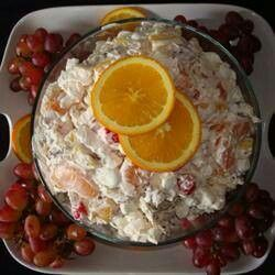 HAWIIAN SALAD  3 cans mandarin oranges, 1 can cubed pineapple,  1 jar maraschino cherries (no stems), 1 container Cool Whip, 1/2 medium sour cream (optional), 1 bag mini marshmallows, 1/2 bag coconut (optional)   Drain all fruit;  cut cherries into quarters; mix everything well; refrigerate for 1 hour; enjoy!