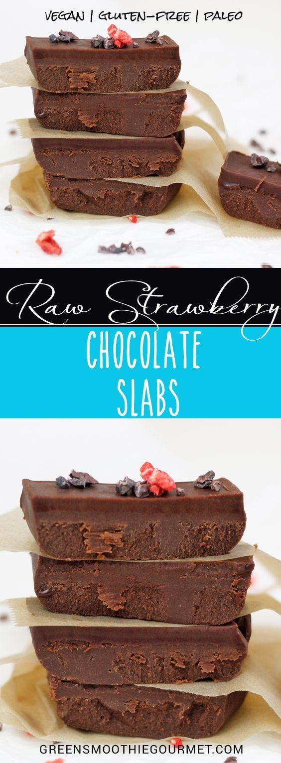 Raw Strawberry Chocolate Slabs
