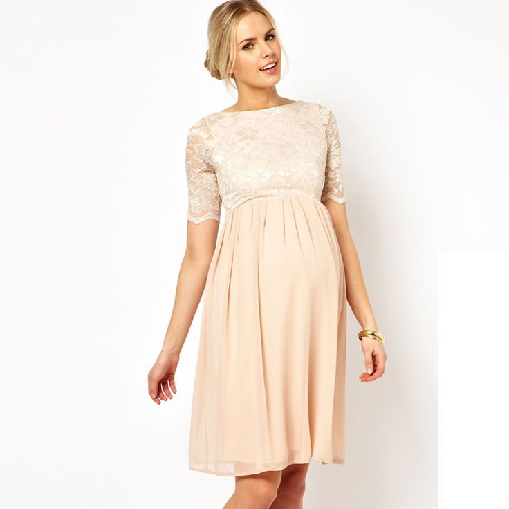 Mariage : les plus belles robes pour femmes enceintes - Robe patineuse mi-longue en dentelle et mousseline de chezASOS MaternitéPrix : 52,52 euros