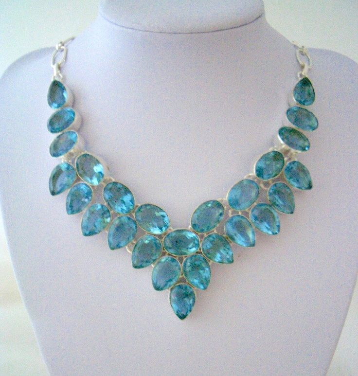 925 Sterling Silver Amazing Emerald Blue Crystals Statement Bib Necklace. by Ameogem on Etsy