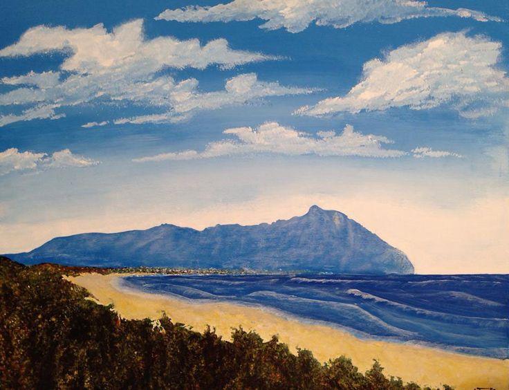 Antonello Marigliani: Monte Circeo visto dalla spiaggia di Sabaudia (2013). Acrilico su legno