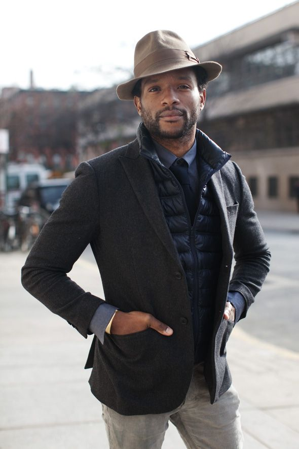 Love what the hat and vest do for this look.: Winter Layered, Street Style, Dresses Shirts, Men Outfits, Men Fashion, New York, The Sartorialist, Suits Jackets, Puffy Vest