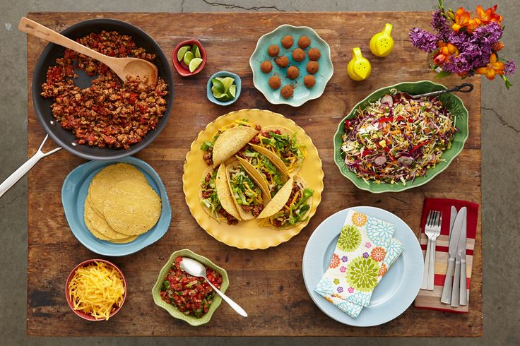 What the Potluck - Fiesta Looking for an excuse to hit the ol' pinata with a few of your closest amigos? Assign each of these dishes to one of your friends for a guaranteed good time to-go. Appetizer:Roasted Habanero Salsa Main Dish: Turkey Picadillo Tacos Side Dish:Tex-Mex Slaw Dessert:Bittersweet Chocolate Truffles