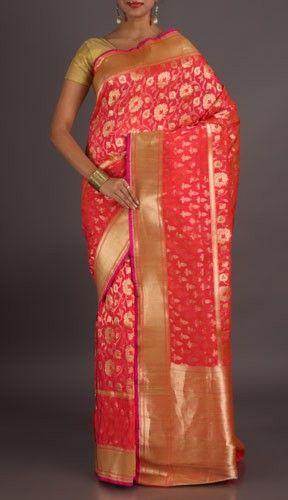 Rashmi Bright Pink With Dazzling Gold Ornate Banarasi Brocade Silk Saree