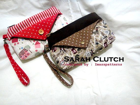 PDF pattern  Clutch / wristlet  in 2 sizes  by Imazzpatterns