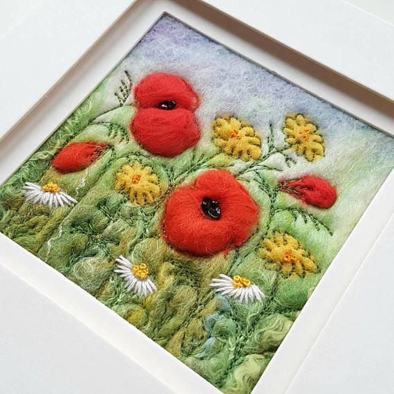 Felted wildflower meadow with poppies and daisies. Original felted wool art by Maxine Smith of Tilly Tea Dance  https://www.etsy.com/uk/listing/483263816/poppy-wildflower-meadow-felted-wool-art