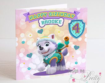 Paw Patrol Everest Personalised Birthday Card