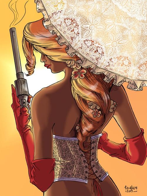 Calamity Jane…  Premier samedi du mois, on se déshabille un peu… C'est la dessinariste (si-si, ça existe) Katia EVEN qui sort son gros pistolet en ce début de week-end !  Visitez le site web de Katia Even : http://www.katia-even.com/