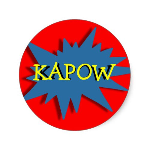 Great Superhero theme stickers, in red blue and yellow and so easy to personalize with a name or other text. Excellent for kids party projects such as D I Y cup cake toppers, favor labels .... #cute #theme #party #personalized #birthday #superhero #superheroes #party #projects #diy #red #kids #pictures #images #colorful #decor #customize #name #happy #fun #blue #yellow #cupcake #toppers #kapow
