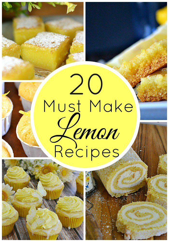 20 Must Make Lemon Recipes | It's summertime and that means lots of recipes with lemon! From the always popular lemon bars to lemon cheesecake and even M