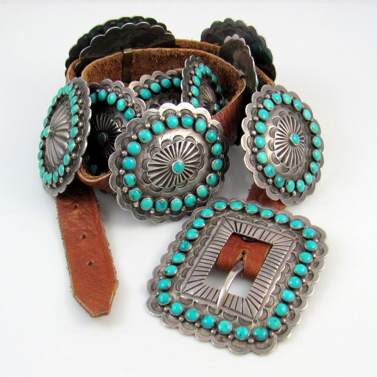 Vintage Navajo silver and turquoise concho belt