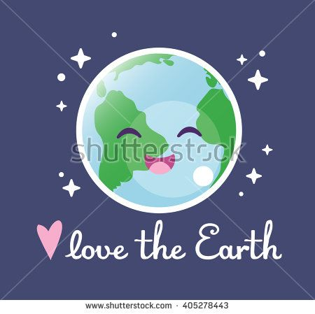 Love the Earth. Cute drawing with lettering. Save the world. Space. Dark background. Vector.