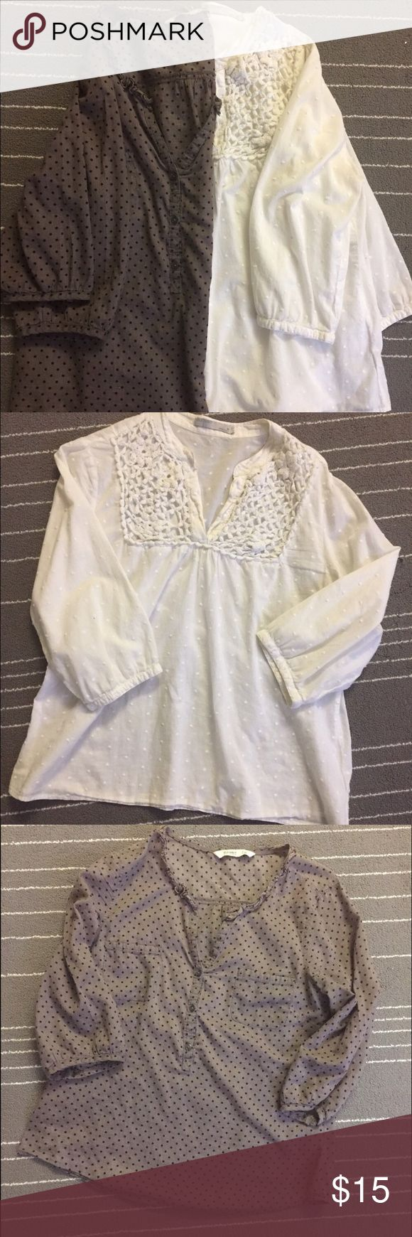 Two in the price of one old navy women tops Old navy cotton blouse very light and airy. Nice for hot summer weather. They are previously owned and great use condition. Normal wears nothing too noticeable. Old Navy Tops