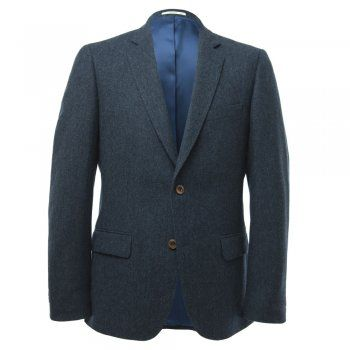 A beautifully tailored 3-piece tweed suit. The fabric is a fine navy-blue salt & pepper. An ideal suit for a wedding or special occasion. The style is tailored. Jacket features include - 2 buttons, contrasting collar melton, internal pockets, straight pockets, 4 button cuff and side vents  Trouser features include - belt loops and a zip fly Waistcoat features include -  2 jett pockets and lapel